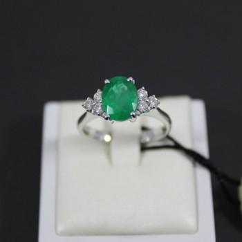 Anello RECARLO ref.XD757/BS4 in oro bianco con diamanti e smeraldo