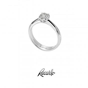 Anello Solitario Recarlo Collezione Anniversary In Oro Bianco E Diamanti Ct.0,32 Colore G Si Xb730 /032